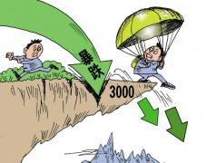 股票漫画 征战多年A股暴跌突破3000点位