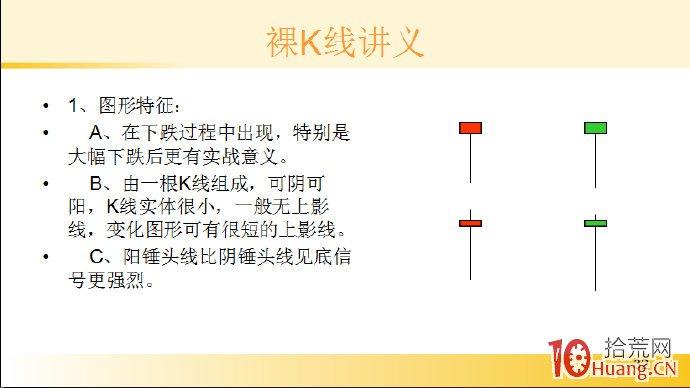 裸K线技术系统课程.37:单根看涨K线之底部锤头线(图解),拾荒网