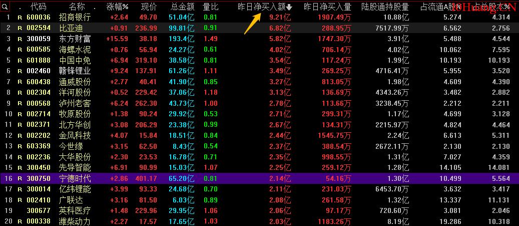 同花顺如何查看北向资金买了哪些股票?(图解),拾荒网