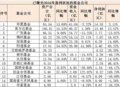 2016年公募基金收益率排行榜一览表